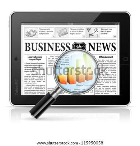 Magnifier Enlarges Chart in Business News on Tablet PC, isolated on white background, vector - stock vector