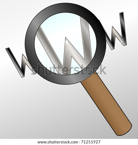 Magnifier glass and letter www - stock vector