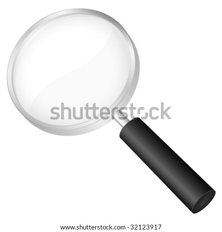 Magnifier glass isolated on a white background. Vector illustration.