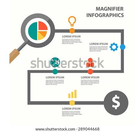 Magnifier Infographic Presentation Template flyer brochure flat design  - stock vector