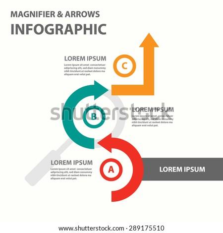 Magnifier Infographics presentation template flyer brochure flat design set - stock vector