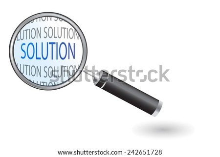 Magnifier - Looking For Solution  - stock vector