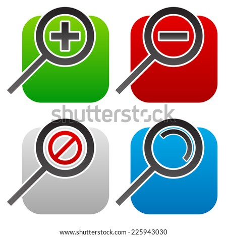 """Magnifier set. Zoom in, zoom out, no zoom availble and generic magniying glass. Magnifiers """"cut"""" in rectangles. Disable opacity mask to turn off white spaces - stock vector"""