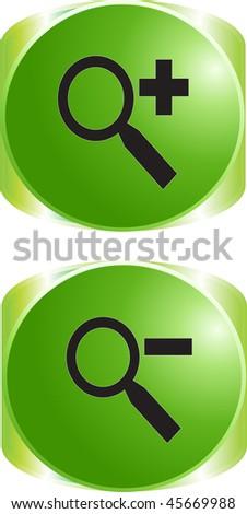 Magnifier sign icon button - stock vector