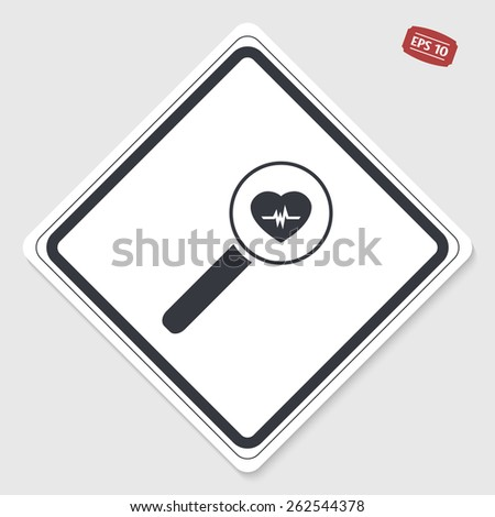 Magnifier with heart beat rate icon. Flat design style. Made vector illustration. Emblem or label with shadow. - stock vector