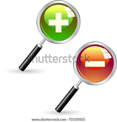 Magnifiers with plus and minus signs - stock vector