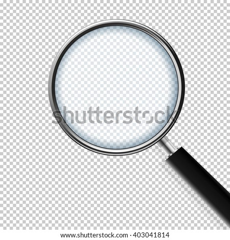 Magnifing Glass With Transparent Background - stock vector
