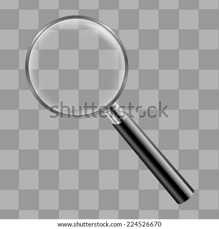 Magnifing Glass With Transparent Background With Gradient Mesh, Vector Illustration - stock vector