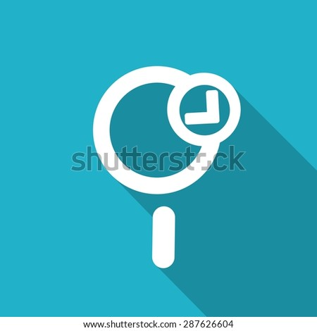 Magnify icon Icon with a long shadow - stock vector