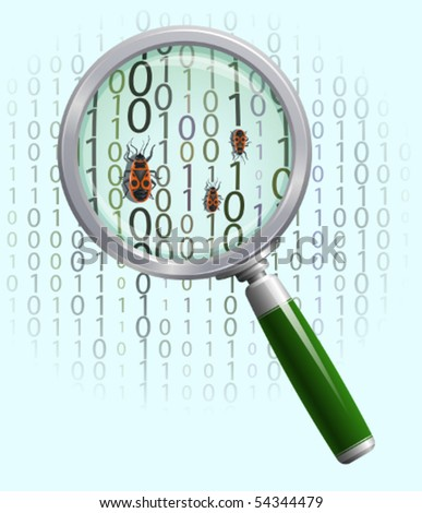 Magnifying glass above bugged  binaries - stock vector
