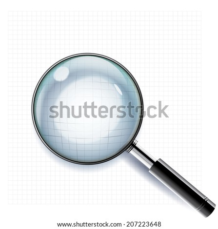 Magnifying glass. Adaptive transparency vector.  - stock vector