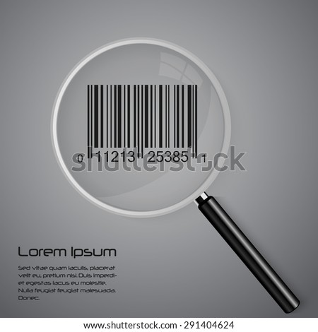 Magnifying glass and barcode vector illustration - stock vector