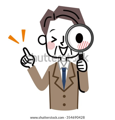 Magnifying glass and businessman - stock vector