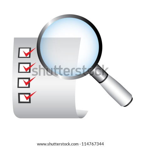 magnifying glass and checklist, vector - stock vector