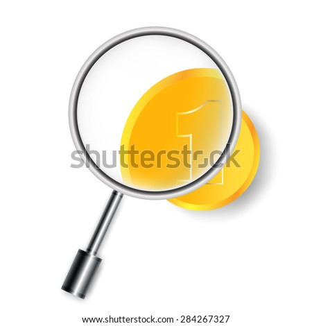 Magnifying glass and coins. Vector illustration