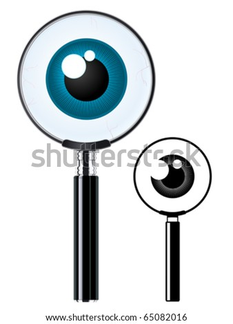 Magnifying glass and eyeball - stock vector