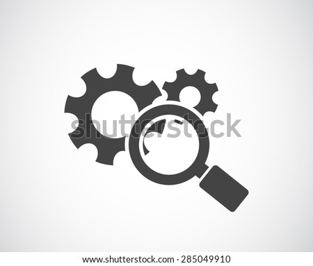 magnifying glass and gears icon - conceptual background - stock vector