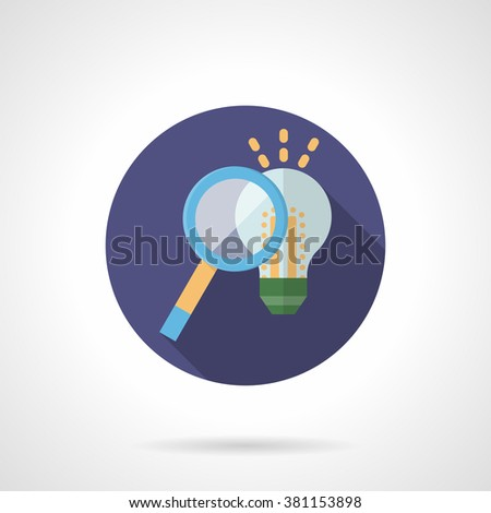 Magnifying glass and light bulb. Search idea, solution concept. Digital marketing. Flat color round style vector icon. Web design element for site, mobile and business. - stock vector