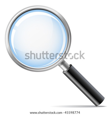 magnifying glass as search icon (vector) - stock vector