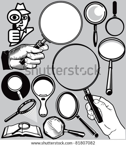 Magnifying Glass Collection - stock vector