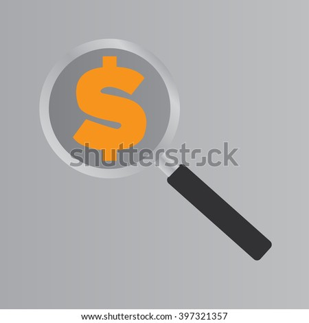 Magnifying glass Dollar icon