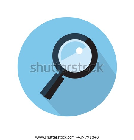 magnifying glass flat icon - stock vector