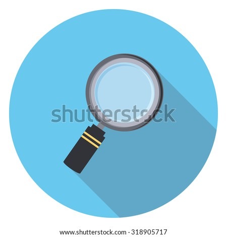 magnifying glass flat icon in circle