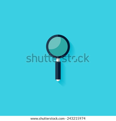 Magnifying glass flat icon. Modern flat icons vector collection with long shadow effect in stylish colors of web design objects. Trendy Flat Style. Isolated on blue background. Flat design. EPS 10. - stock vector