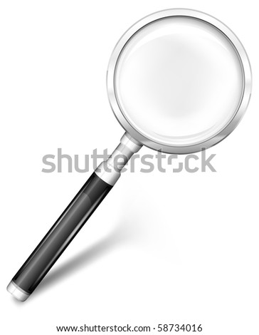 Magnifying glass for detailed image with black handle, vector illustration - stock vector
