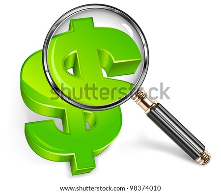 Magnifying glass for zooming green dollar symbol, vector illustration - stock vector