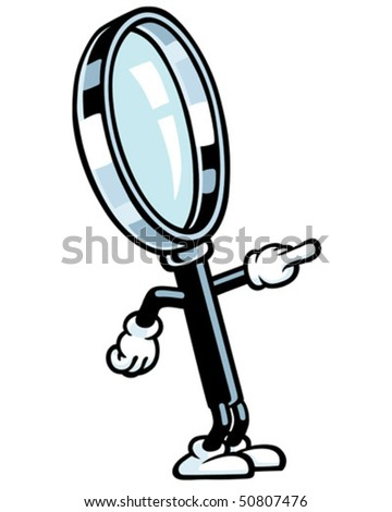 Magnifying Glass Guy - Pointing