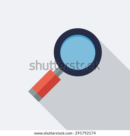 Magnifying Glass Icon. Flat Vector Icon With Long Shadow Design Collection. - stock vector