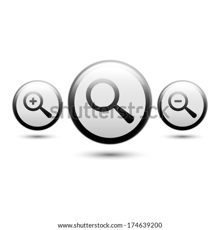 Magnifying Glass Icon. Zoom in, zoom out icons. Find, magnify, search, zoom buttons - stock vector