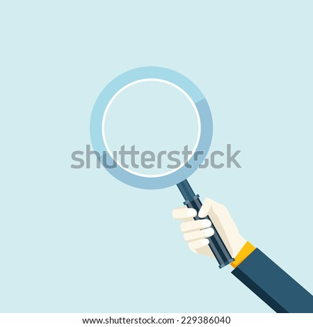 Magnifying glass in a hand flat navigation decorative element icon vector illustration - stock vector