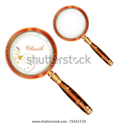 Magnifying glass isolated and butterfly over white background, vector object - stock vector