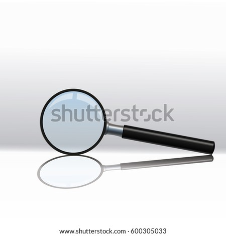 Magnifying glass isolated on a white background. The reflection of light and glare.Beautiful black handle.For those who have difficulty seeing.vector illustration.