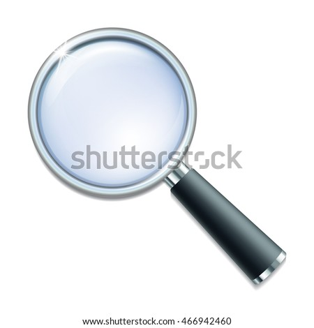 Magnifying glass isolated on white background. Vector illustration