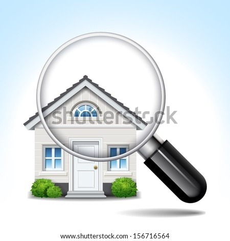 magnifying glass isolated white house in the foreground - stock vector