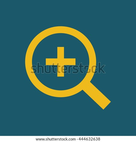 Magnifying glass / loupe / zoom in . yellow icon . vector illustration - stock vector