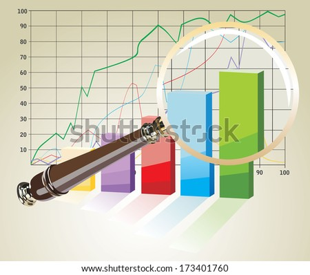 magnifying glass on graph - stock vector