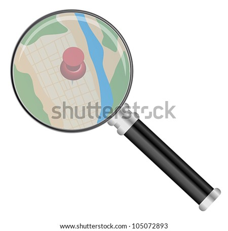 Magnifying Glass on Map Isolated on White
