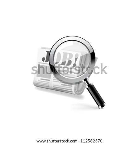 Magnifying glass over a newspaper. Vector