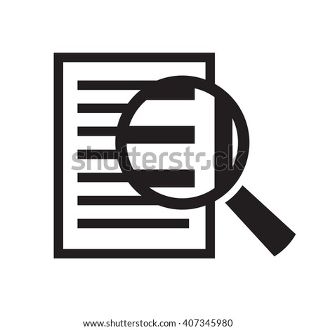 magnifying glass over document vector icon - stock vector