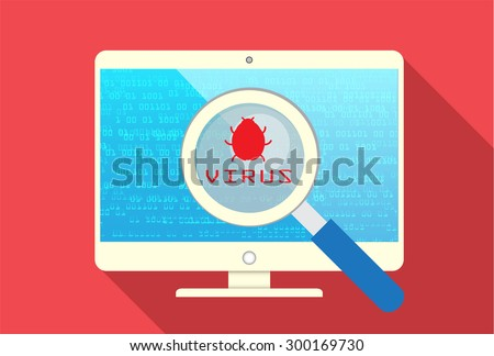 Magnifying Glass scanning and identifying a computer virus. Anti virus protection and computer security concept. PC. vector one zero. scan. technology digital website internet web - stock vector