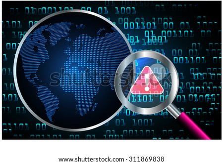 Magnifying Glass scanning and identifying a computer virus. Antivirus protection and computer security concept. PC. vector one zero. scan. technology digital website internet web. - stock vector