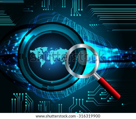 Magnifying Glass scanning and identifying a computer virus. Antivirus protection and computer security concept. PC. vector one zero. scan. technology digital website internet web. World Map, Global. - stock vector