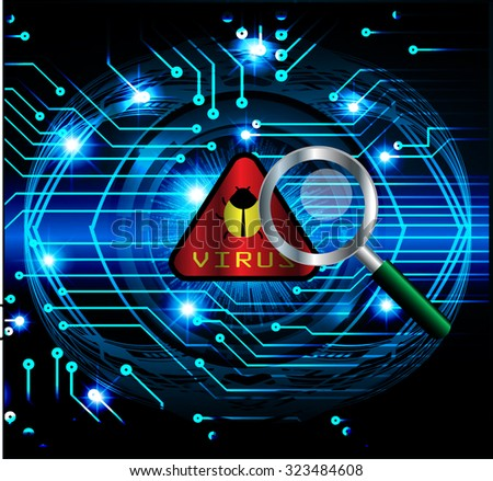 Magnifying Glass scanning and identifying a computer virus. Antivirus protection and computer security concept. PC. vector one zero. scan. technology digital website internet web. vector. eye - stock vector