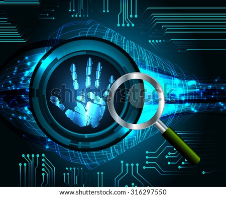 Magnifying Glass scanning and identifying a computer virus. Antivirus protection security concept. PC. vector. scan. technology digital website internet web. scanning. Hand print. - stock vector
