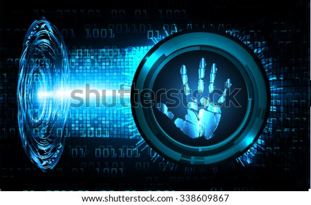 Magnifying Glass scanning and identifying a computer virus. Antivirus protection security concept. PC. vector. scan. technology digital website internet web. scanning. Hand print. vector