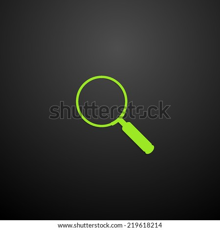 Magnifying glass Search, flat icon isolated on black background - stock vector